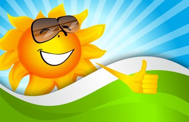 Background with a smiling sun