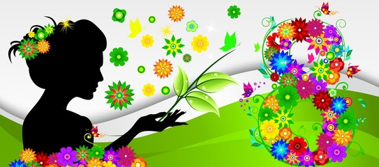Girl on spring background with flowers