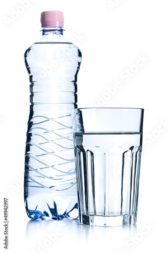 glasses of water and plastic bottle