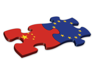 EU & Chinese Flags (China European politics debt)