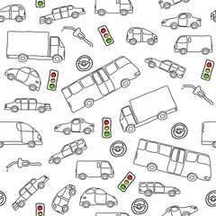 Vehicles background - seamless texture vector