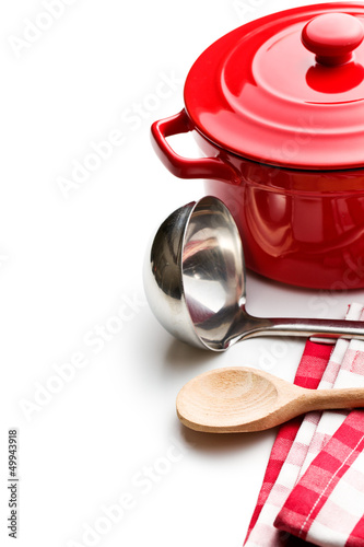 kitchenware on white background