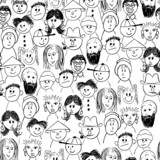 Vector seamless hand-drawn pattern crowd of people poster