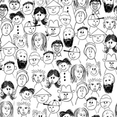 Vector seamless hand-drawn pattern crowd of people