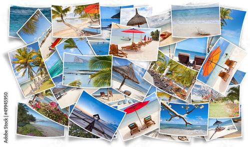 Leinwanddruck Bild photos souvenirs de vacances à l'île Maurice