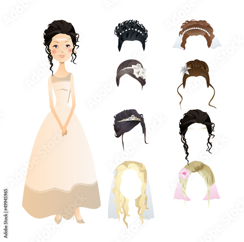 set of bride hairstyles