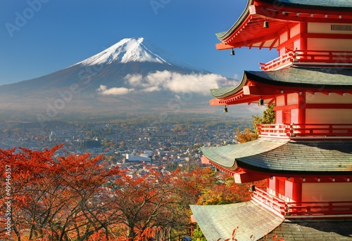 In de dag Japan Mt. Fuji and Pagoda