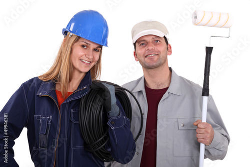 Portrait of an electrician and a painter