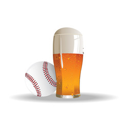 American baseball background with glass of beer