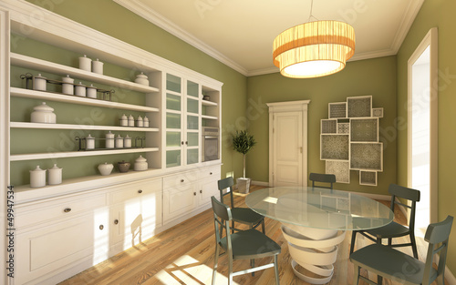 Big Bright Kitchen In Green Colour