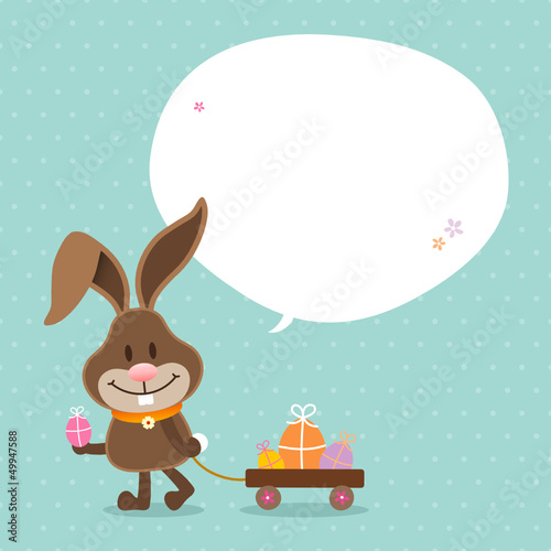 Bunny Handcart Speech Bubble Retro Dots