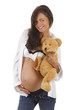 Glückliche schwangere Frau mit Teddybär - pregnant woman