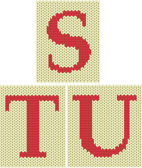 Set of knitted silhouette figures letters