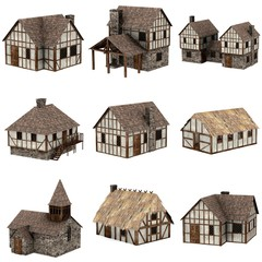 collection of medieval houses - 3d