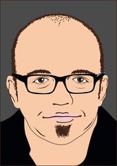 Person mit Hornbrille