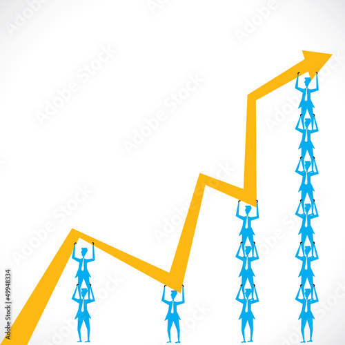 team lift the market graph stock vector