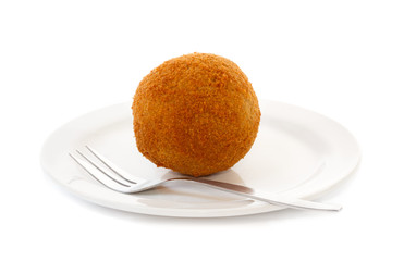 Egg ball (Eierbal) served on saucer