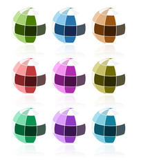 abstract 3d glossy mosaic sphere colorful collection