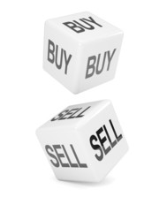 "White dice ""Buy"" and ""Sell"""