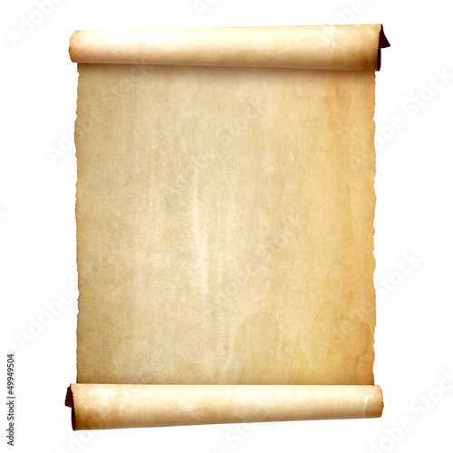 Old vintage scroll isolated on white background - 49949504