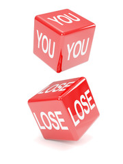 "Two red dice ""You Lose"""