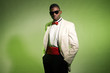 Cool black american man in suit wearing sunglasses. Fashion shot