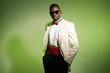 Cool black american man in suit wearing sunglasses. Fashion shot