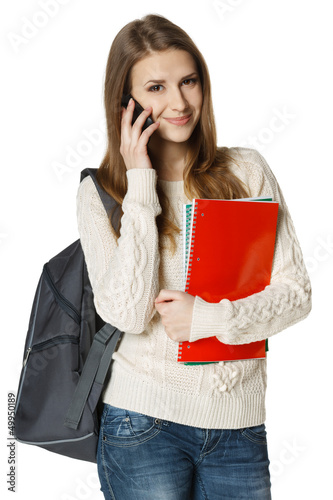 Happy woman university student talking on cell phone