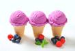 Blueberry ice cream cones