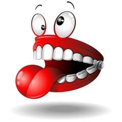 Funny False Teeth Cartoon Dentiera Divertente-Vector
