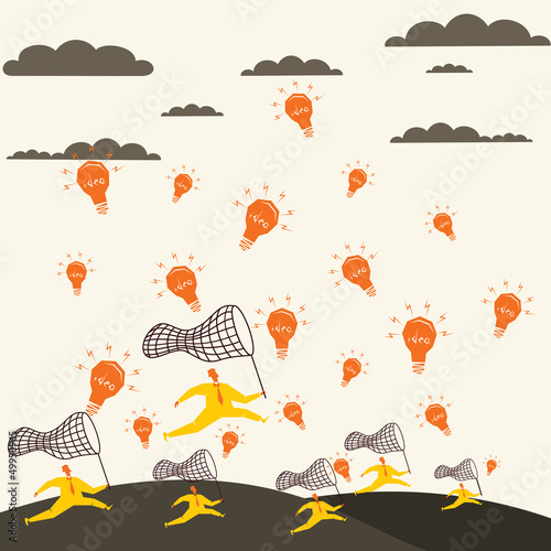 every men run for new idea stock vector