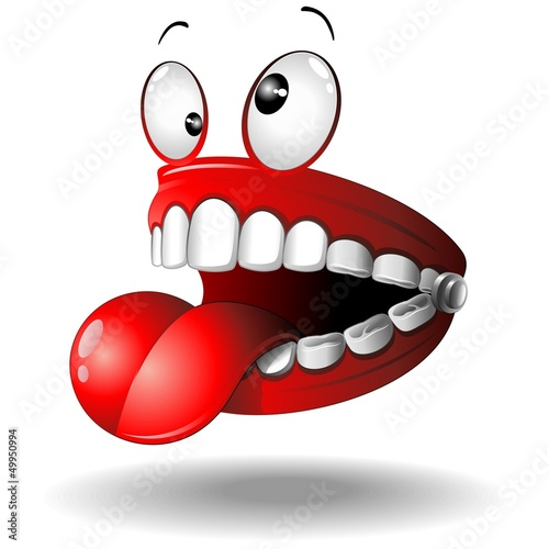 Funny False Teeth Cartoon Dentiera Divertente-Vector