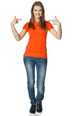 Young happy casual woman pointing at herself