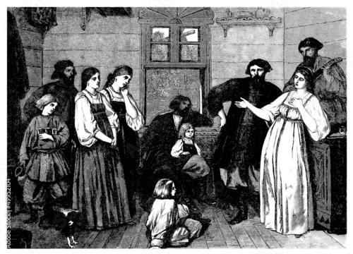 Russia : Mujik Family - Moujiks - 19th century
