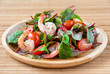 Salad with shimp, tomato and chard
