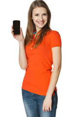 Happy young casual woman showing blank card
