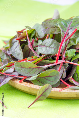 Chard on wooden plate