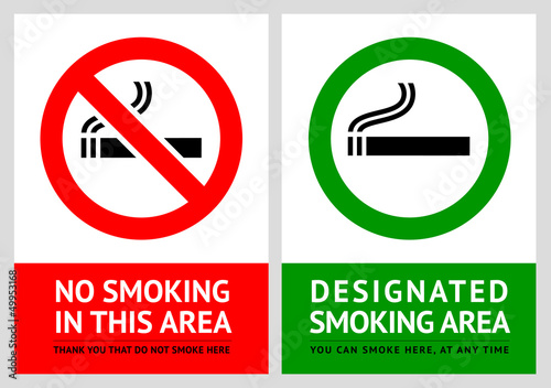 No smoking and Smoking area labels - Set 13