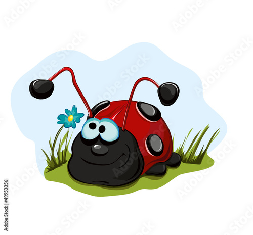 Tuinposter Lieveheersbeestjes Cheerful ladybug for children.