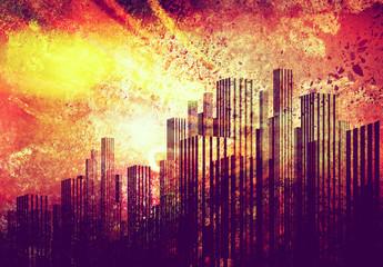 grunge skyline