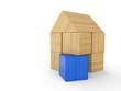Holzhaus Baustein Konzept - Blau
