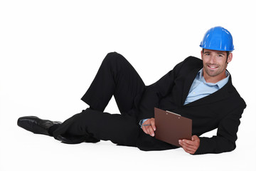 Engineer lying on the ground