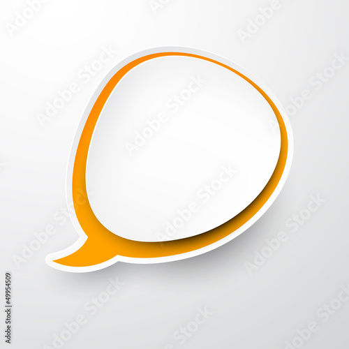 Paper white-orange speech bubble.