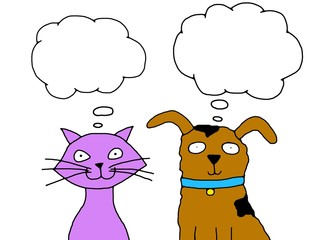 Thinking Cat and Dog