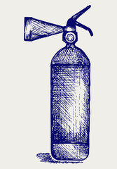 Fire extinguisher. Doodle style. Vector EPS 8