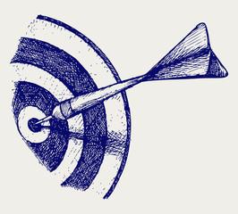 Arrow in target. Doodle style. Vector EPS 8