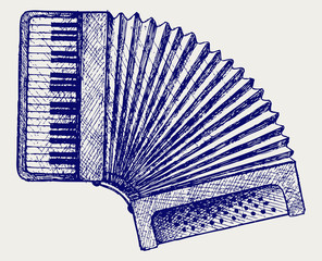 Accordion. Doodle style. Vector EPS 8