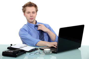Man sat at desk
