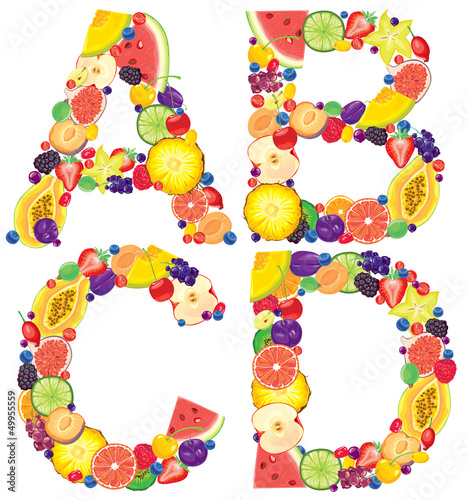 Alphabet from fruit ABCD