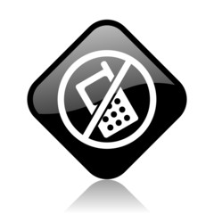 no phones black square glossy internet icon